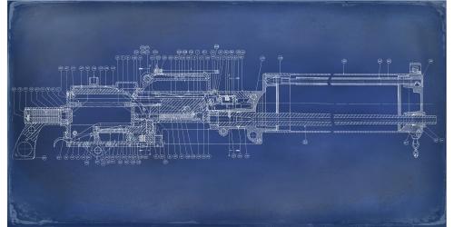 Machine Gun - Colt Browning Gun Cross Section 1917 blueprint double-aged Narrow 03
